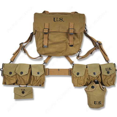 WWII WW2 US ARMY SOLDIER FULL SET M36 HAVERSACK 6 CELLS BELT CANTEEN FIRST AID POUCH