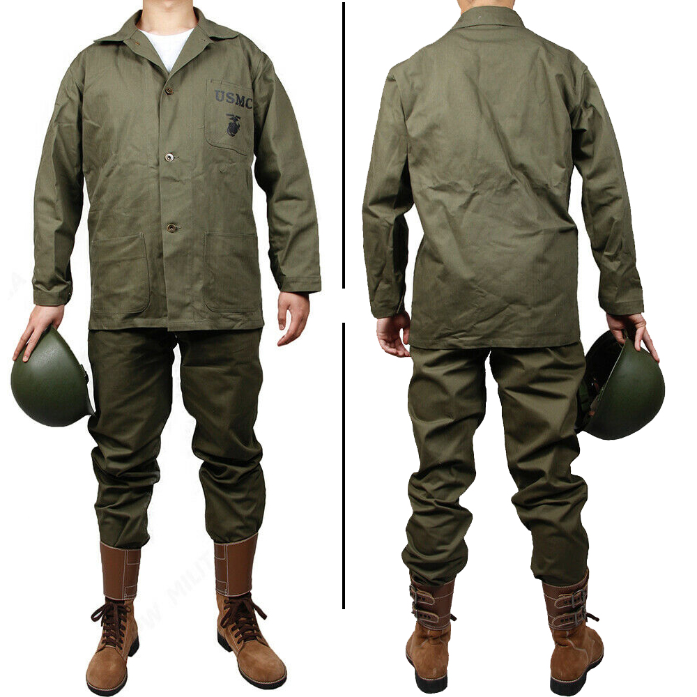 WW2 US Military HBT Green USMC Shirt Jacket and Pants Trousers