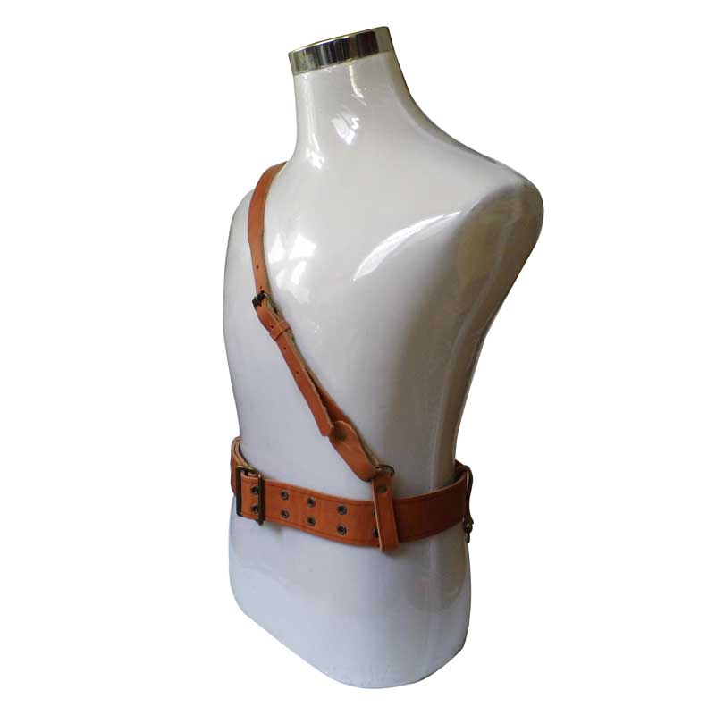 REPLICA CHINESE ARMY PLA LEATHER ARMED PISTOL BELT AND CROSS SHOULDER STRAP