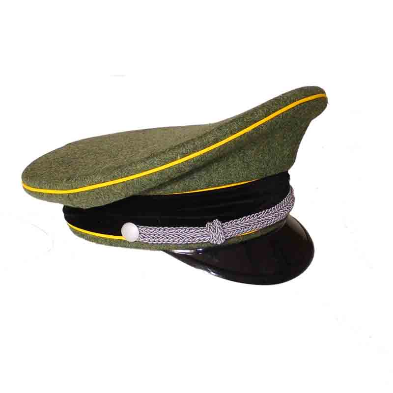 WWII WW2 GERMAN SS OFFICER VISOR CAP YELLOW GOLD PIPE CRUSHER WOOL VISOR HAT