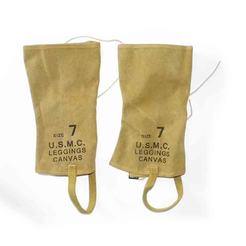 Pair Size 7 WW2 WWII USMC KHAKI CANVAS Gaiters LEGGINGS