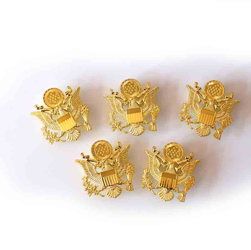 5PCS REPRO WW2 WWII US ARMY OFFICER CAP HAT EAGLE BADGE GOLDEN COLOR