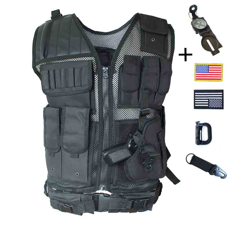 Black Tactical Vest with Holster Mesh Breathable Material Adjustable Waist for Airsoft Paintball Training Adults Men S to XL