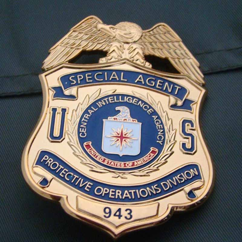 US SPECIAL CIA PROTECTIVE DIVISION PIN BADGE COLLECTION COPPERL MATERIAL GOLDE